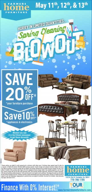 Ads For Farmers Home Furniture in Covington  GA. Farmers Home Furniture   Spring Cleaning Blowout   Shopping Ads