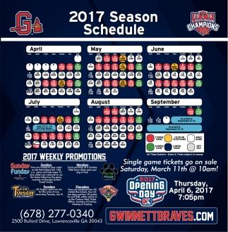 2017 Season Schedule