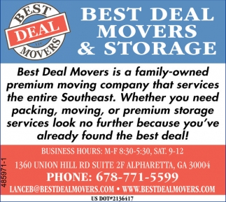 Best deal movers and storage