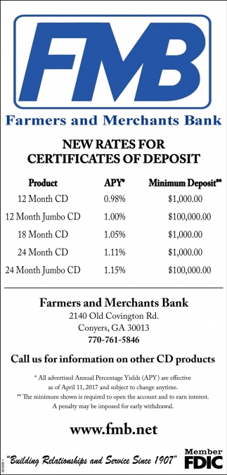 New rates for certicates of deposit