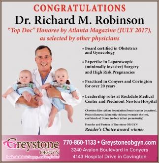 Congratulations Dr. Richard M. Robinson