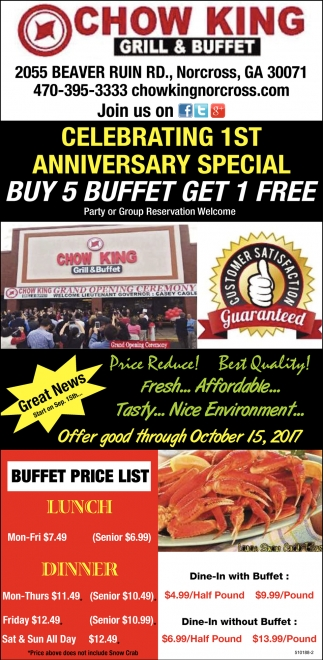 Buy 5 Buffet Get 1 Free