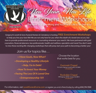 New Year, New Life, Enrichment Workshop