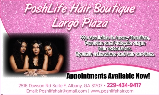 We specialize in luxury Brazilian, Peruvian and Malaysia virgin hair extensions. Eyelash extensions and hair services