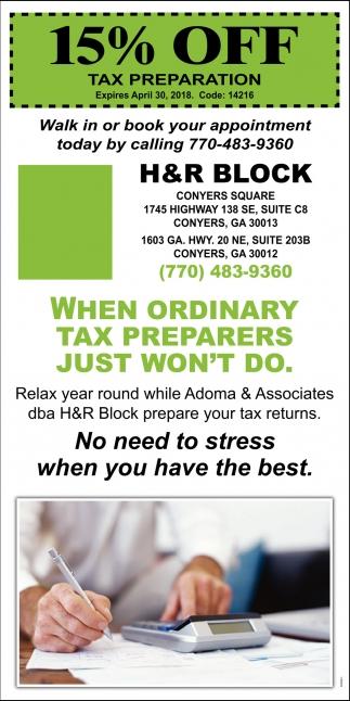15% OFF Tax Preparation