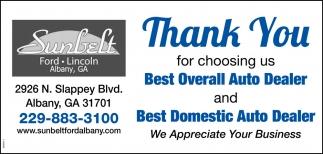 Sunbelt Ford Albany Ga >> Thank You For Choosing Us Best Overall Auto Dealer Sunbelt