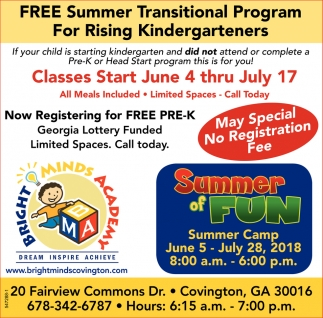 Free Summer Transitional Program for Rising Kindergarteners