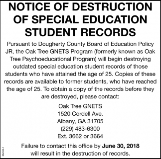 Notice of Destruction of Special Education Student Records