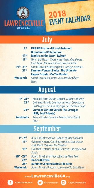 2018 Event Calendar