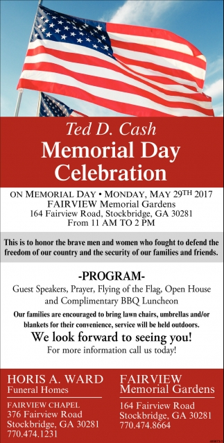 Memorial Day Celebration, Horis A. Ward Funeral Homes / Fairview ...