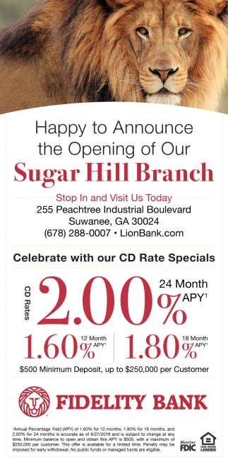 Happy to Announce the Opening of Our Sugar Hill Branch