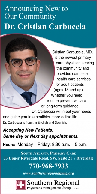 Announcing New to Our Community Dr. Cristian Carbuccia