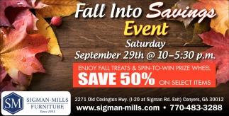 Fall Into Savings Event
