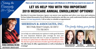 Let us Help You with You Important 2019 Medicare Annual Enrollment Options
