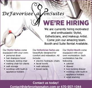We're Hiring, De Favorisee Salon Suites, Loganville, GA
