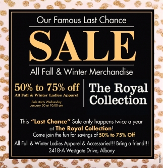 50% to 75% OFF All Fall & Winter Ladies Apparel