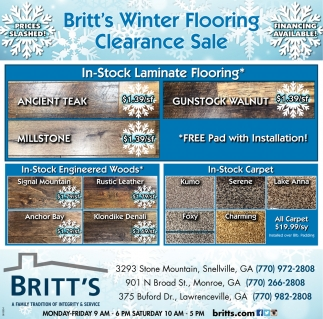Winter Flooring Clearance Sale