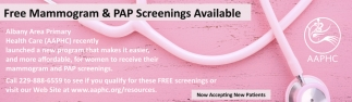 Free Mammogram & PAP Screenings Available