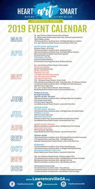2019 Event Calendar