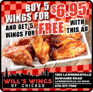 Buy 5 Wings for $6.95