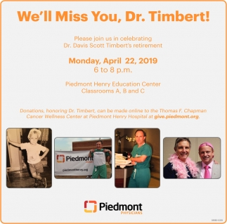 We'll Miss You, Dr. Timbert!