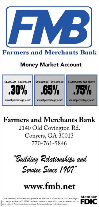New Rates For Certificates Of Deposit Farmers And Merchants Bank