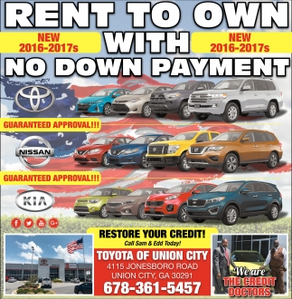 Toyota Of Union City >> Rent To Own With No Down Payment Toyota Of Union City