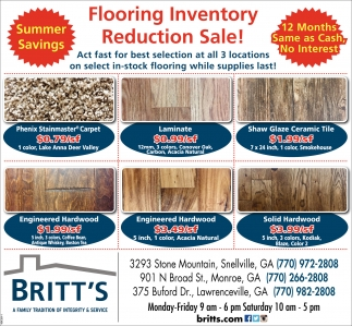 Flooring Inventory Reduction Sale!
