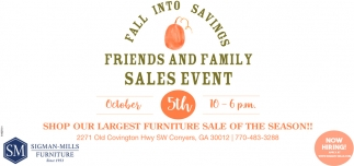 Friend and Family Sales Event