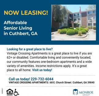 Now Leasing!, Vintage Crossing Apartments, Cuthbert, GA