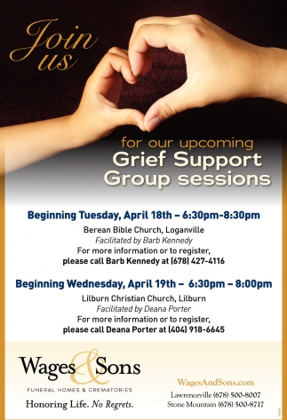 Join us for our upcoming Grief Support Group Sessions