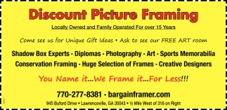 Discount Picture Framing, Bargain Framer, Lawrenceville, GA