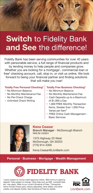 Switch To Fidelity Bank And See The Difference!