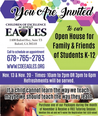 Open House For Family & Friends Of Students K-12