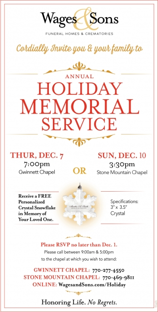 Annual Holiday Memorial Service