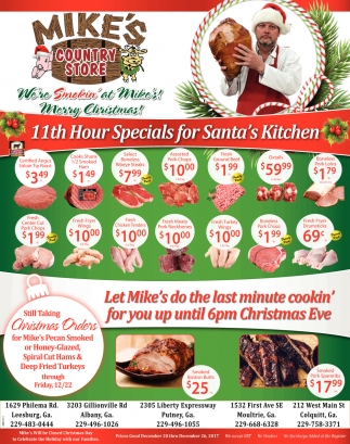 11th Hour Specials for Santa's Kitchen