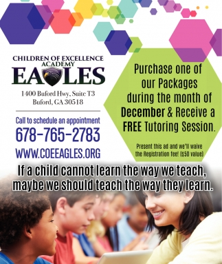 Purchase one of our Packages during the month of December & receive a free tutoring session